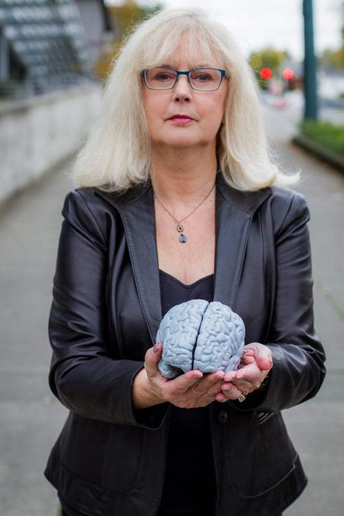 Jeanie McKay holding a toy brain